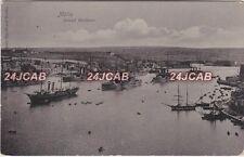Malta Real Photo RPPC. Malta Grand Harbour. Royal Navy Ships in Harbour. c 1905