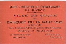 Carte orange Ville de Couhé banquet 1921 Civray