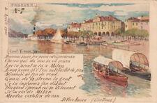"""A567) PALLANZA, IL LUNGOLAGO. VIAGGIATA 1900 ANNULLO """"LOCARNO ARONA (3)"""" PERFIN"""