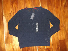 NWT Womens TOMMY HILFIGER Navy Blue Open Stitch Sweater Sz XL X-Large