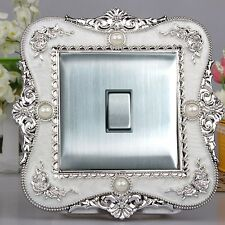 Luxurious Embossment White Surface & Silver Flower Light Switch Surround,Sticker