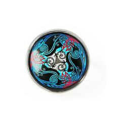 Colorful Celtic Stained Glass Irish Raven Design Sterling Silver Adjustable Ring