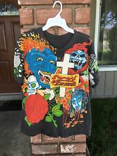 VINTAGE OZZY OSBOURNE 1992 TATTOOS T-SHIRT ALL OVER Concert T-Shirt L RARE TOUR