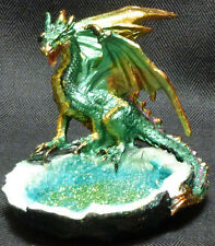 "GREEN CRYSTAL WATER DRAGON Perched Near Pond  H3.5'' x W3.75""  Statue Figure"