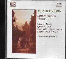 CD album: Mendelssohn: String Quartets Vol.1. Aurora String Quartet. naxos. M