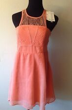 NWT BERSHKA JUNIORS PEACH LACE COCKTAIL HI LOW ASYMMETRICAL MINI DRESS Size M