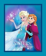 "Disney Frozen Sisters are Magic Panel 100% cotton 44"" Fabric by the panel"