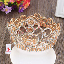 King/Queen Royal 4.6inch High Chic Gold Plating Aniversary Crown Tiaras Jewelry