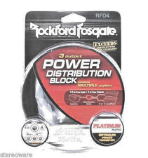 ROCKFORD FOSGATE RFD4 0/1/4-Gauge 1-In 3-Out Car Audio Distribution Block New