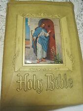 Holy Bible LG SZ KJV JOHN HERTEL BLOND Leather Covers Self-Pronouncing RED LETT