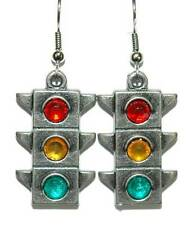 RED-YELLOW-GREEN TRAFFIC SIGNAL STOP LIGHT DANGLE EARRINGS (D116)