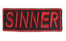 sinner patch badge motorcycle biker vest rock and roll punk goth evil red