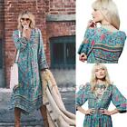 Bohemia Folk Flower Gypsy Ethnic Peasant Women's Summer Beach Prom Party Dress