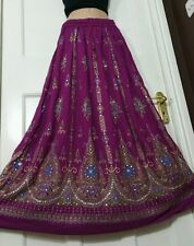 Ladies Indian Boho Hippie Long Sequin Skirt Rayon Gypsy Dance in DARK PURPLE clr