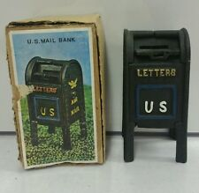 NEW Vintage Cast Iron US Mail Box Toy Bank 1960s w/ Box RARE