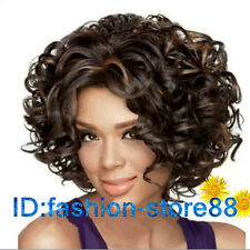 Sexy Fashion Women's ladies short Brown mixed Curly Cosplay Party Wigs+Wig cap