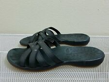 Keen CITY OF PALMS Women's Black Leather  Flowers Slide SANDALS Size 7.5