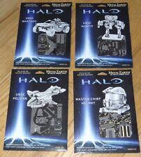 HALO Set or 4 Metal Earth 3D laser Cut Models UNSC Mantis Pelican Warthog Helmet