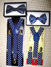 Father & Son Blue White Polka Dots Adjustable Bow Tie & Adjustable Suspenders