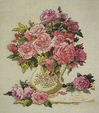 "NIP Design Works Counted Cross Stitch Kit 'China Roses' 10"" X 12"""