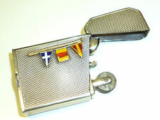 ART DECO SOLID SILVER & GOLD LIGHTER ENAMEL NAVAL FLAGS PENNANTS - 1927-ENGLAND