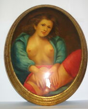 tolles Ölbild Akt, oval-gewölbt, Öl auf Holz, Handgemalt, selten, 47cm x 37cm