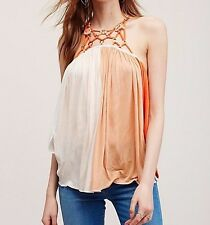 130817 New $88 Free People Magic Tank Crochet Embellished Blouse Top XS