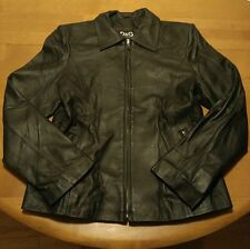 DOLCE & GABBANA Black Leather Moto Biker Jacket Women's XL Italy