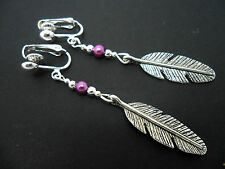 A PAIR OF TIBETAN SILVER DROP DANGLY  FEATHER PURPLE BEAD CLIP ON EARRINGS. NEW.