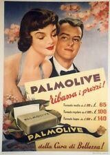 """""""SAVON PALMOLIVE"""" Affiche originale entoilée Typo-litho 1952  74x100cm"""