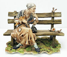 Capodimonte Figure - Old Lady On Bench - IPA Made In Italy - RARE Large Sculptor