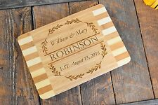 Custom Laser Engraved Bamboo Wood Cutting Board; Two names, family name & date
