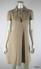 $198 BCBG MAX AZRIA S Tunic Front Shirt Dress Taupe Khaki Tan Small EUC