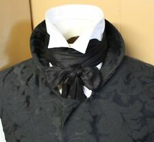 Wholesale Regency Victorian Ascot Cravat Tie - Black Dupioni Silk 4x78