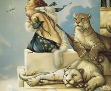 Michael Parkes DEVA fierce woman w snow leopard dragonfly fantasy art print