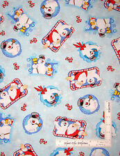 Christmas Frosty The Snowman Santa Claus Cotton Fabric Holiday Blue  - Yard