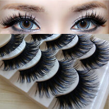 5Pairs Pretty Long Cross False Eyelashes Makeup Blue Black Fake Thick Eye Lashes