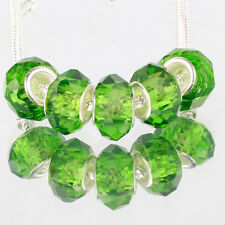 Crystal green 5pcs MURANO glass bead LAMPWORK For European Charm Bracelet