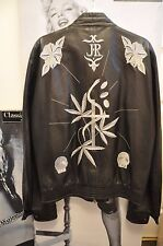 "MEN/WOMEN BLACK JACKET""JOHN RICHMOND""100% LEATHER  EMBROIDER MARIJUANA LEAVES M"