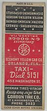 c1940s Businesses in Orlando Florida matchbook cover - taxi tires cameras cars..