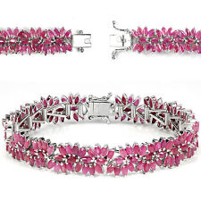 Sterling Silver 925 Genuine Marquise Pink Ruby Statement Bracelet 7.5 Inches