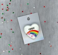 Rainbow & Hearts Fashion Pin Brooch Personalized CINDY - Stocking Stuffer