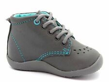 Vertbaudet Infants Baby Boys UK 2 EU 18 Grey Leather First Steps Ankle Boots NEW