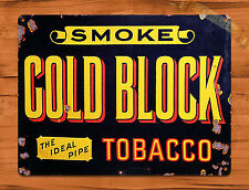 "TIN-UPS TIN SIGN ""Gold Block Tobacco""  Rustic Garage Home Wall Decor"