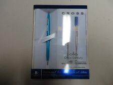 Century Classic  Pearlescent Teal Blue Ballpoint Pen Plus 2 Free Cross Refills