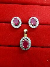 ADS619, Daphne Fascinating Ruby AD Pendant and Earrings, Gift for Wife