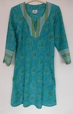 Anokhi Bias Cut Block Print Cotton Tunic Top - Holiday/Boho/Hippie- size S