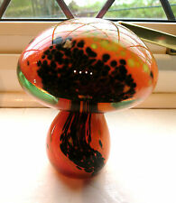"MDINA~MALTA~CRYSTAL~ART GLASS~MUSHROOM~PAPERWEIGHT~ORANGE~BLACK~4~3/8""H~LABELLED"