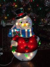 """CHRISTMAS OUTDOOR LIGHTED SNOWMAN HOLLY BERRY SCARF HAT FIGURE YARD DISPLAY 24"""""""