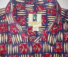 Men's KAHALA Hawaiian Aloha Shirt Red Hibiscus Floral Surfboard Mens XL X-Large